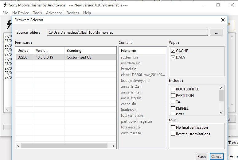 Actualización del terminal Xperia E3 D2206 paso 6