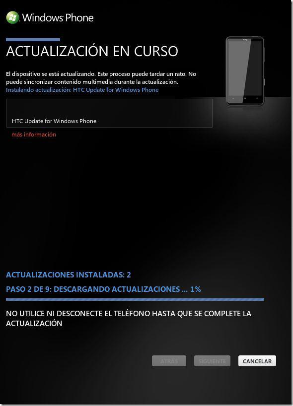 actualizar el dispositivo móvil HTC HD7 -